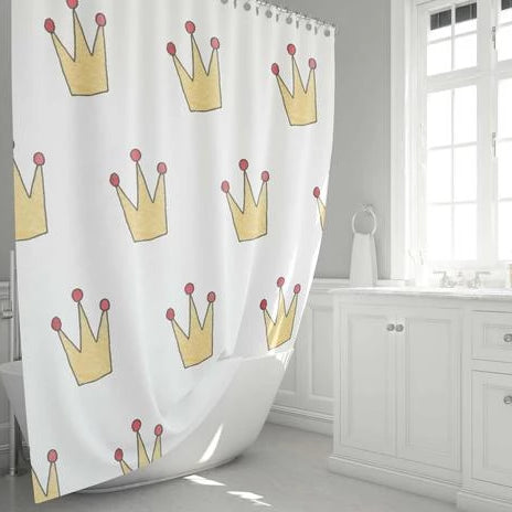 Red and Gold Royal Crown Bathroom Shower Curtain