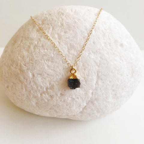 Mini Black Druzy Quartz Necklace