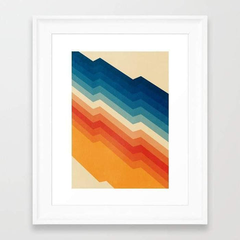 colorful art print in white frame