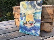 Sailing with Jesus II- wooden print. Last one.
