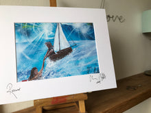 Rescuer, signed photo print in a white mount