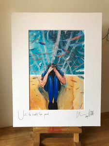 Until the disaster has passed. Signed photo print, in a white mount.