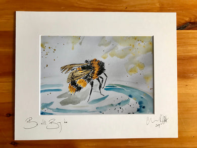Busy bee be still. Signed photo print in white mount.
