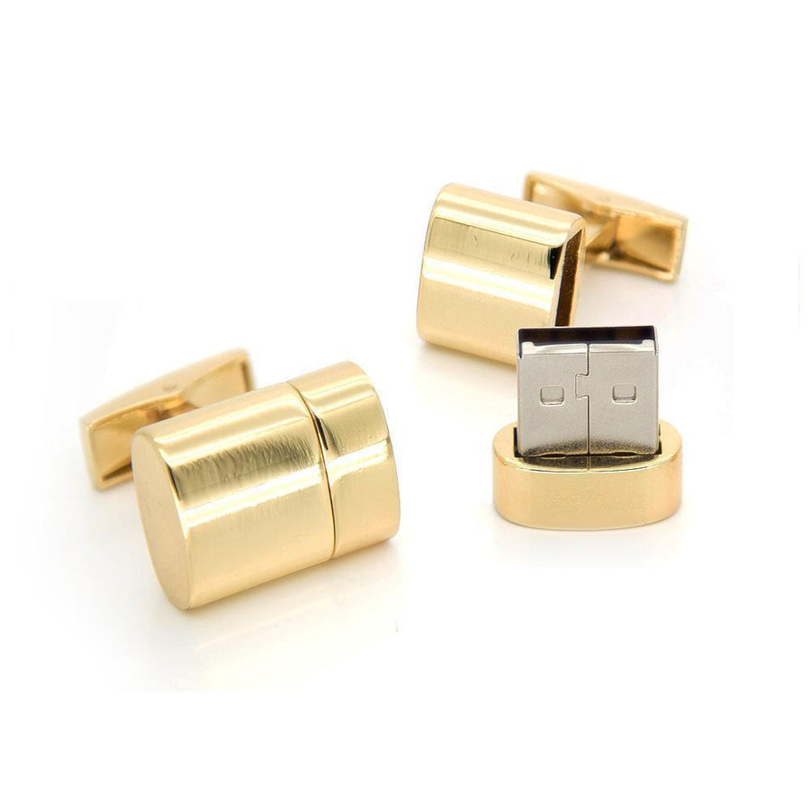Working USB Cufflinks 32Gb Oval Flash Drive in Gold