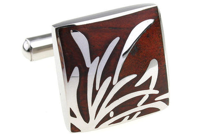 Reed Stainless Steel and Wood Cufflinks