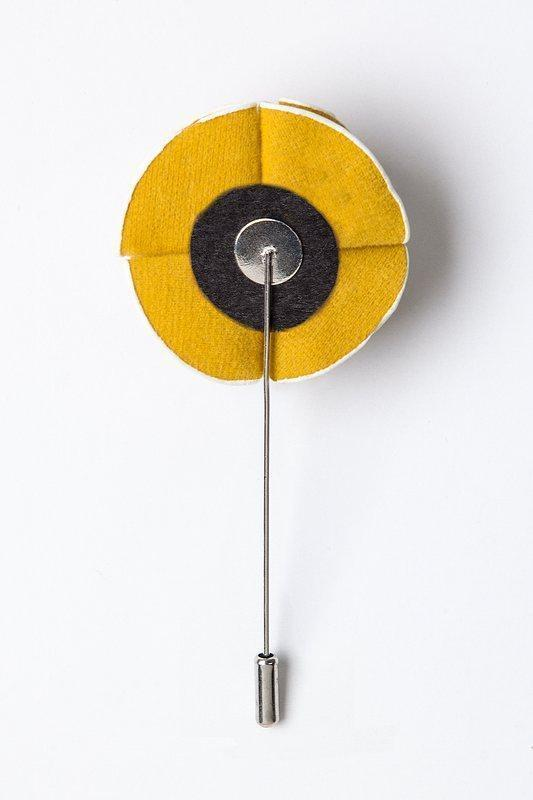 Mustard Piped Flower Lapel Pin