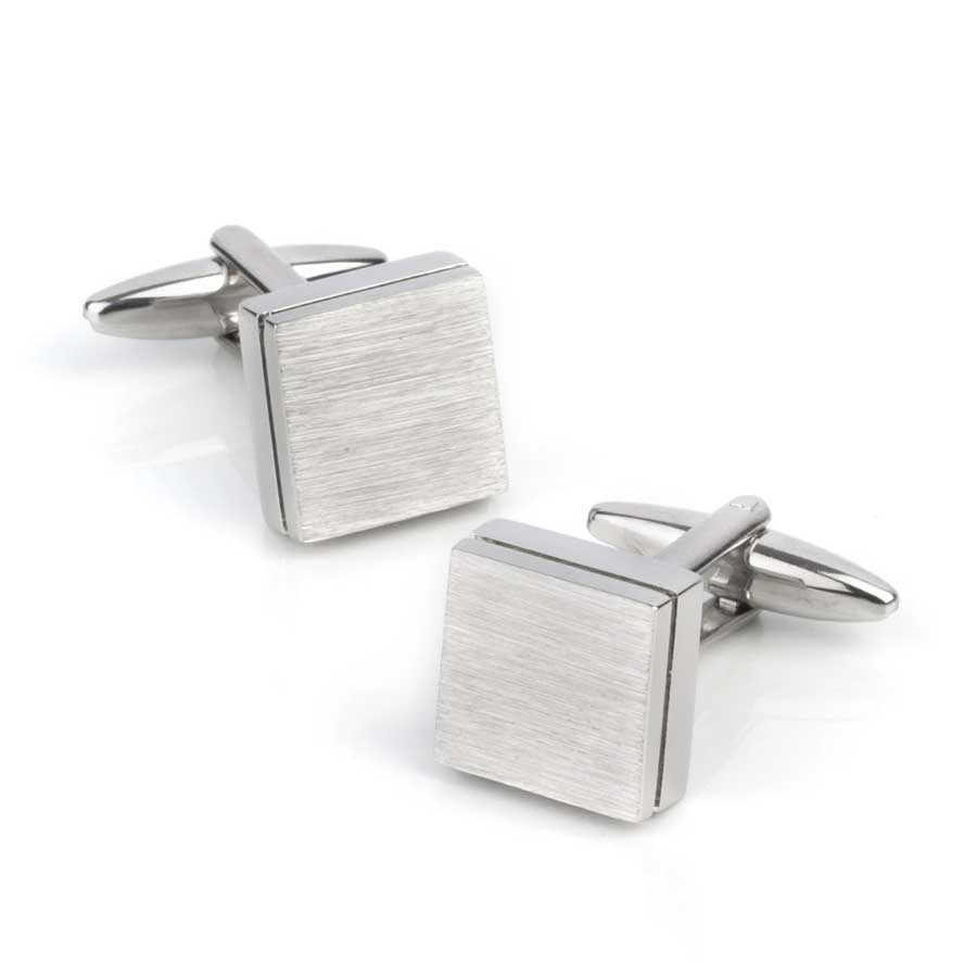 Brushed Square Silver Cufflinks