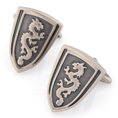 Medieval Shield Cufflinks in Burnished Silver