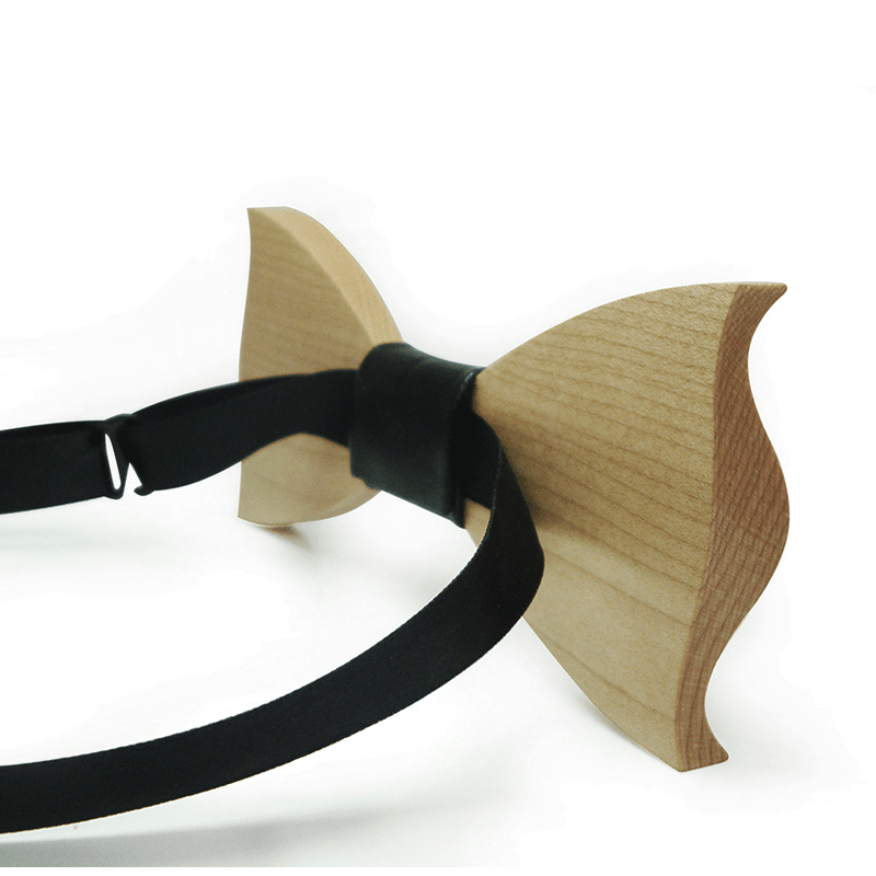 Dark Wood Black Leatherette Adult Bow Tie