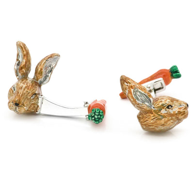 Colour Bunny Rabbit Head and Carrot Back Cufflinks