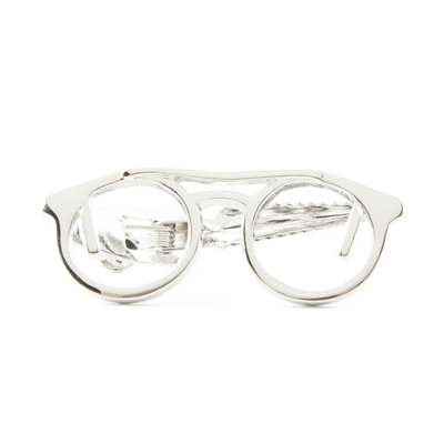 Silver Spectacles Tie Clip
