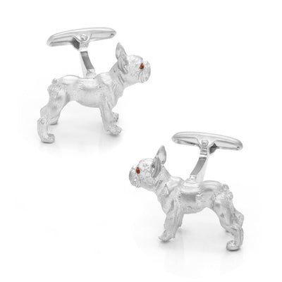 Silver Bulldog Cufflinks with Brown Crystal Eyes