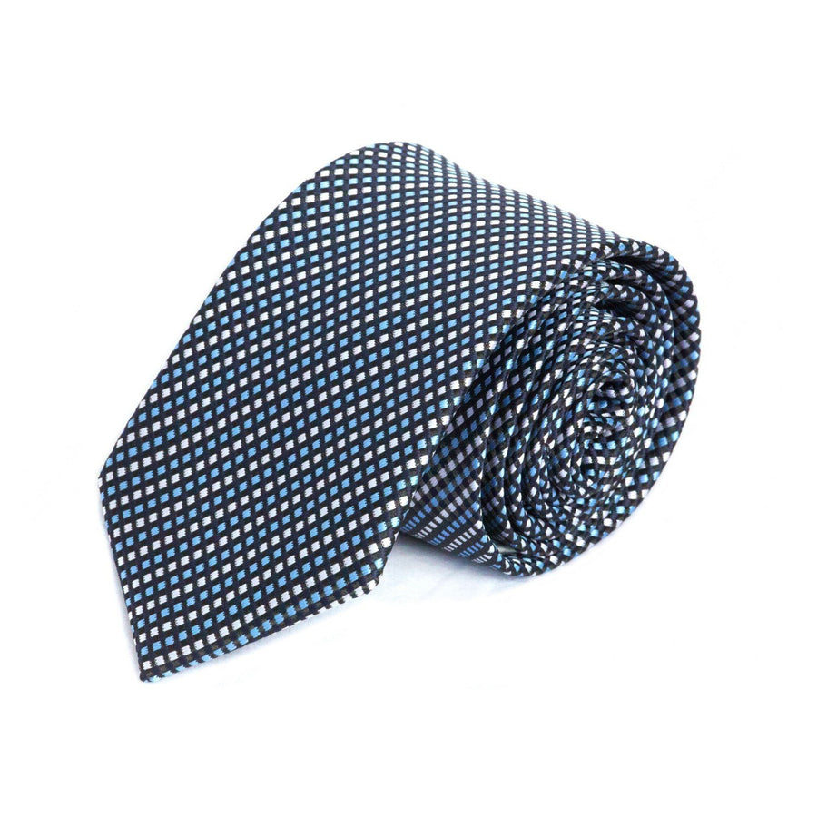 Silver, Black and Blue Weave MF Tie