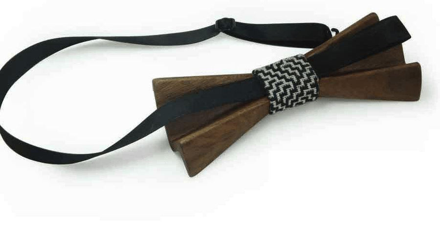Dark Wood 3D Accordion Style Kids Bow Tie in Leatherette