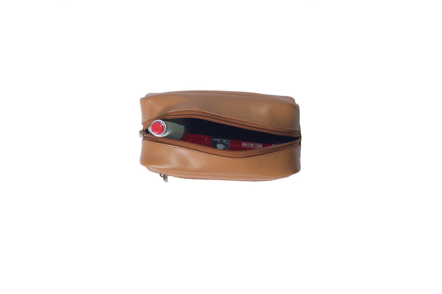 Small Leather Toiletry Bag in Tan