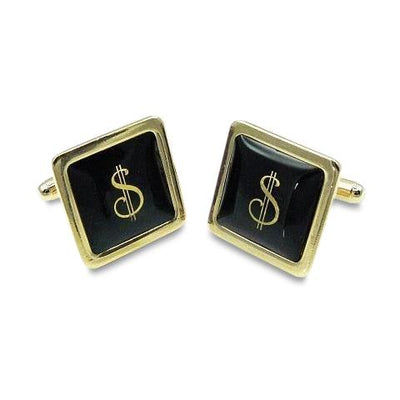 Gold Dollar $ sign square cufflinks