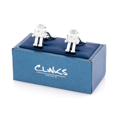 Robot Cufflinks in Shiny Silver