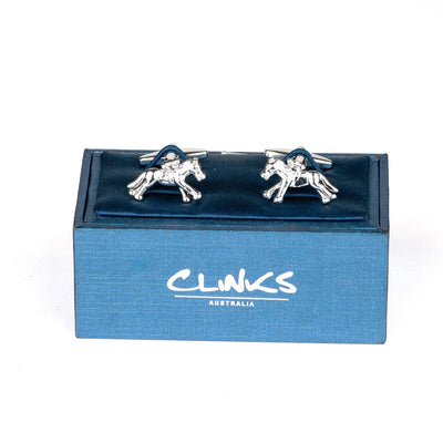 """Melbourne Cup"" Horse Racing Silver Cufflinks"