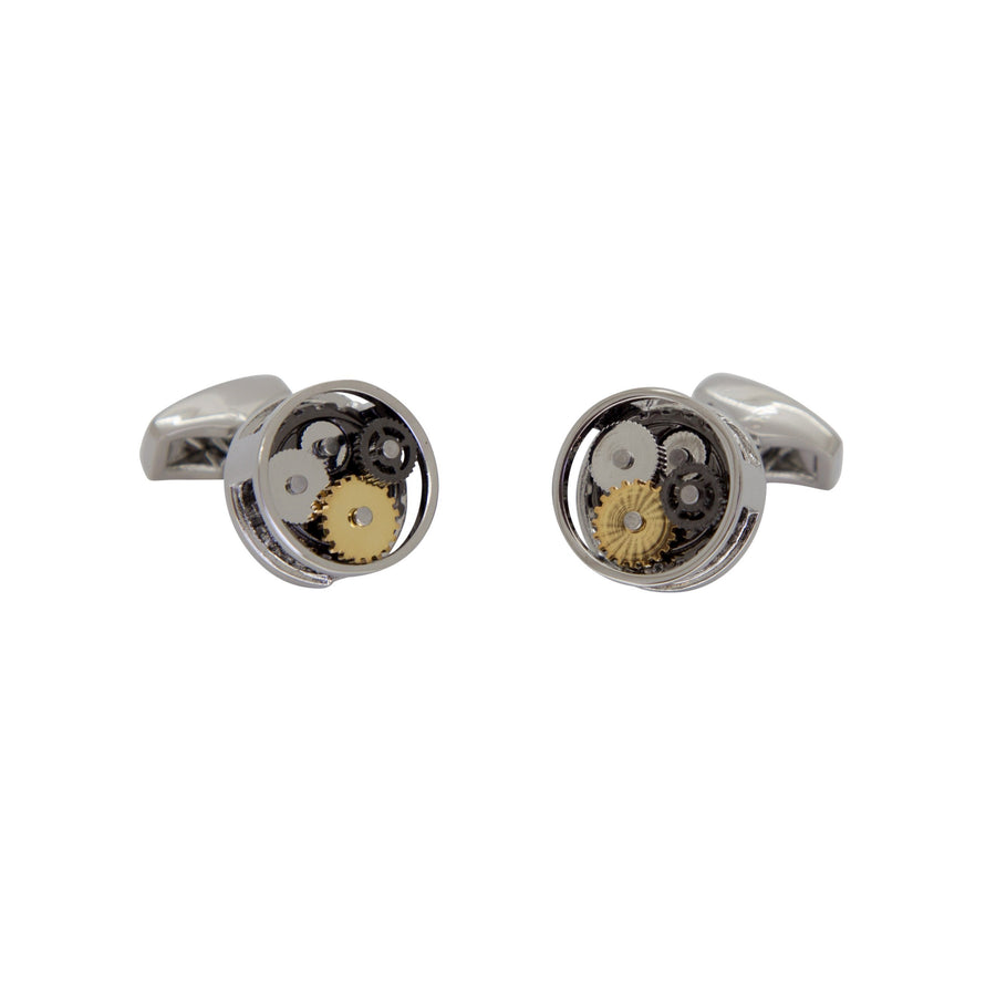 Steampunk Gear Cufflinks in Round Silver