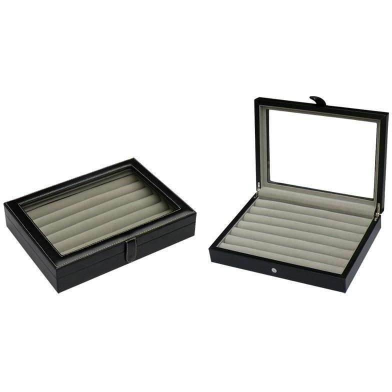 36 Pair Bonded Leather Black Cufflink Box