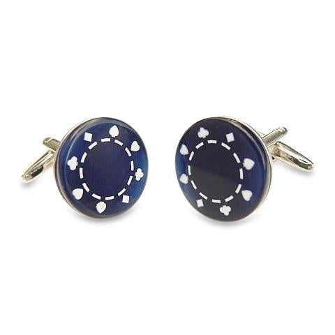 Dark Blue Casino Chip Cufflinks