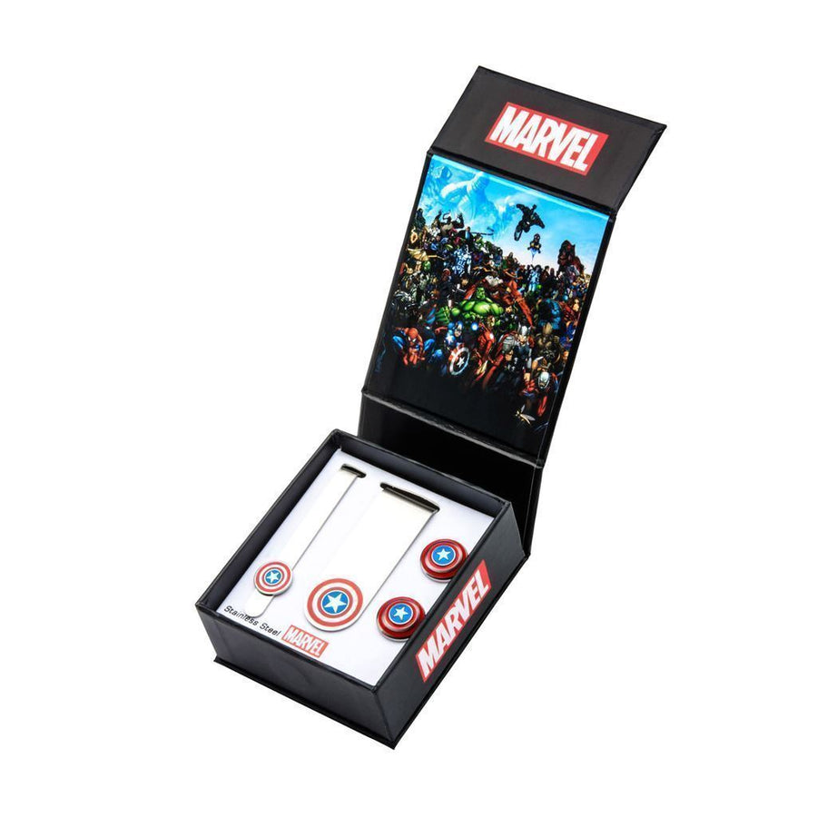 Marvel Captain America Gift Set with Cufflinks Tie Bar and Money Clip
