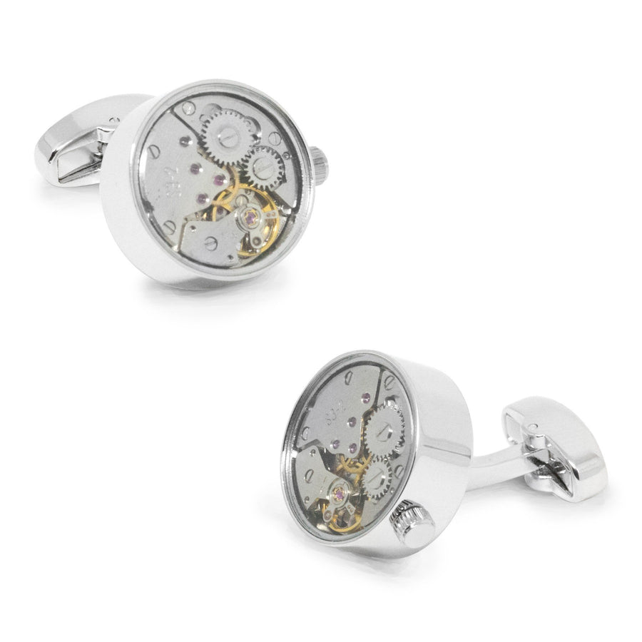 Working Watch Movement Steampunk Cufflinks Silver