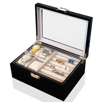 50 Pair Cufflink and Watch Box Double Decker Black