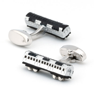 Silver and Black Train Carriage Cufflinks