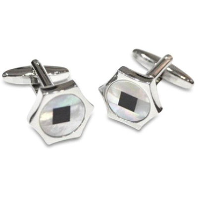 Hexagonal Mother of Pearl Cufflinks