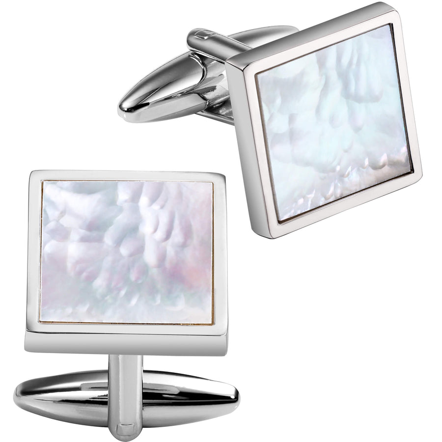 Mother of Pearl in Silver Square II Cufflinks