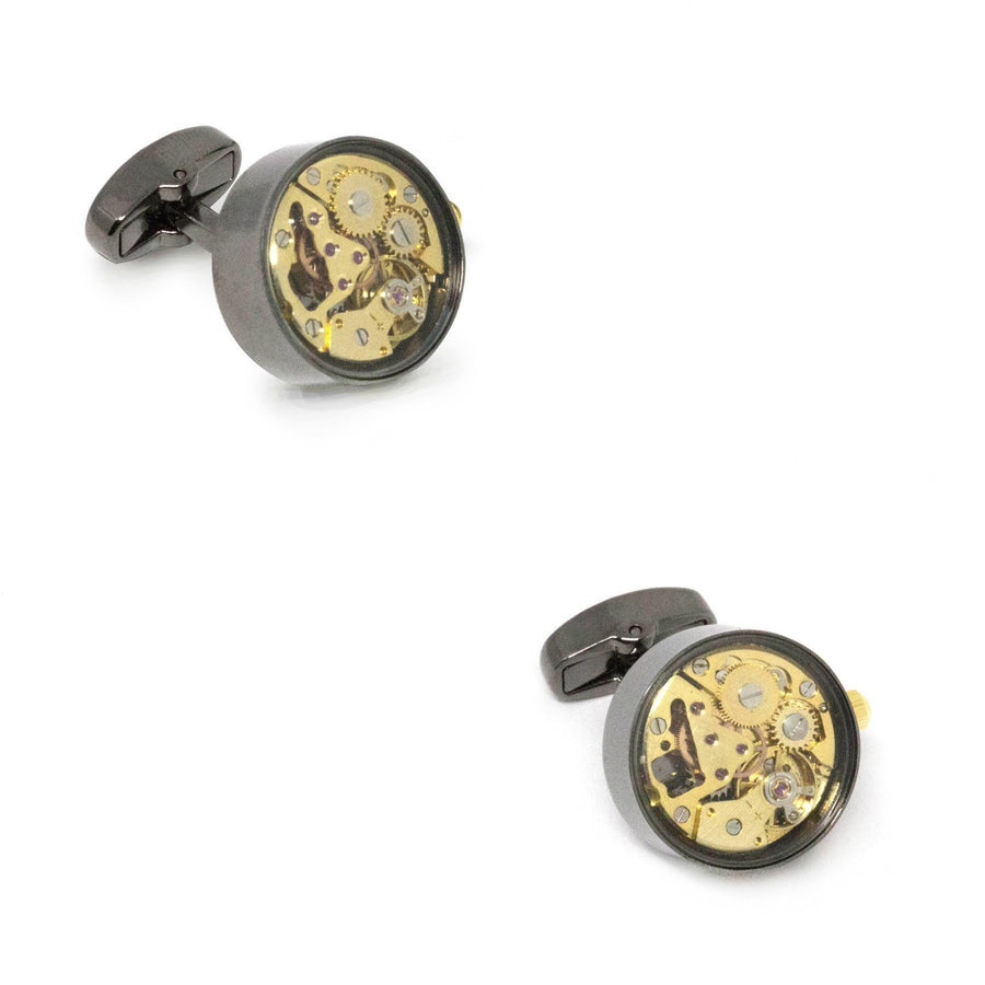 Working Watch Movement Steampunk Cufflinks Gunmetal and Gold