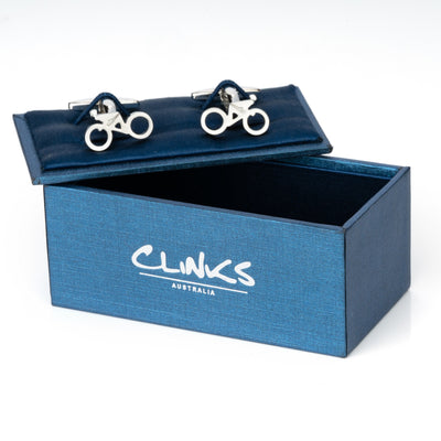 Styled Racing Bicycle with Cyclist Cufflinks