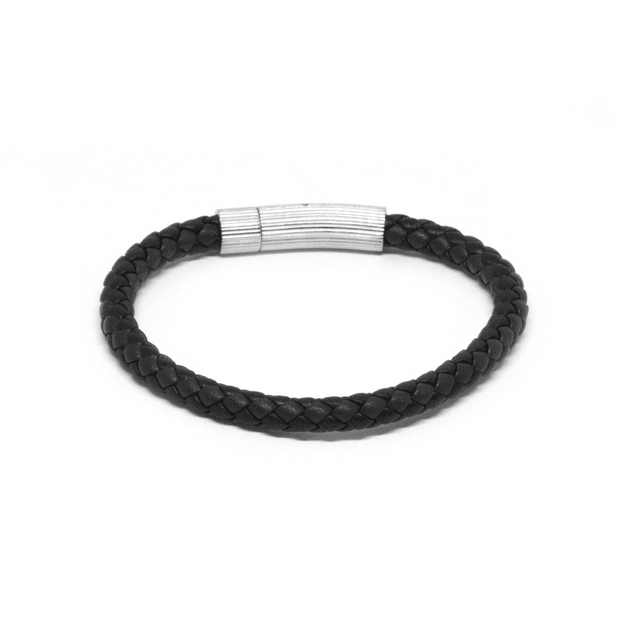 Navy/Black Leather Bracelet with SS Textured Barrel Clasp