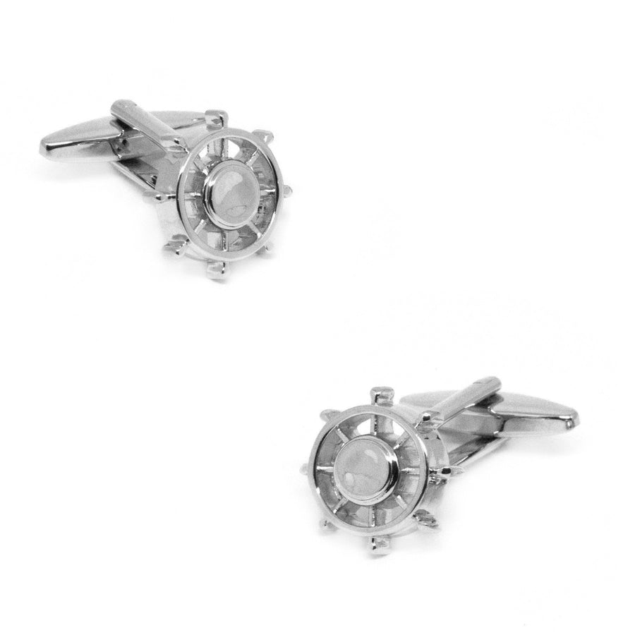 Silver Wheel Fidget Spinner Cufflinks