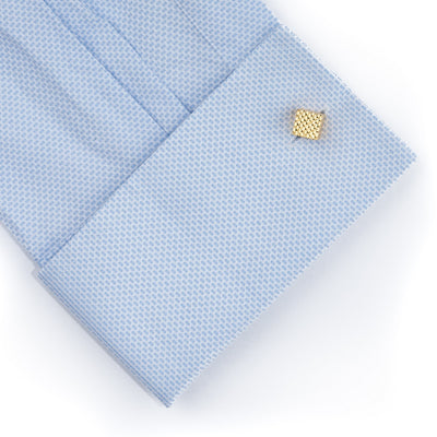 Gold Diamond Textured Cube Cufflinks
