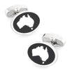 Map of Australia SIlver on Black Enamel Cufflinks
