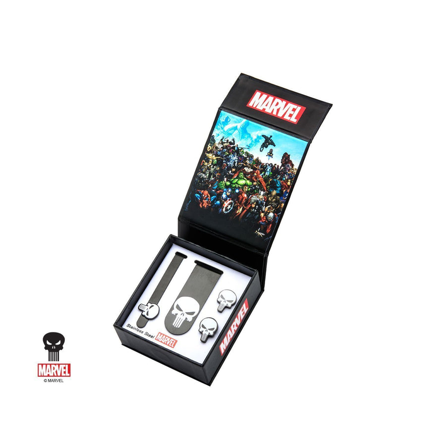 Marvel Punisher Gift Set with Cufflinks Tie Bar and Money Clip