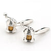 Silver Gold Fishing Reel Cufflinks