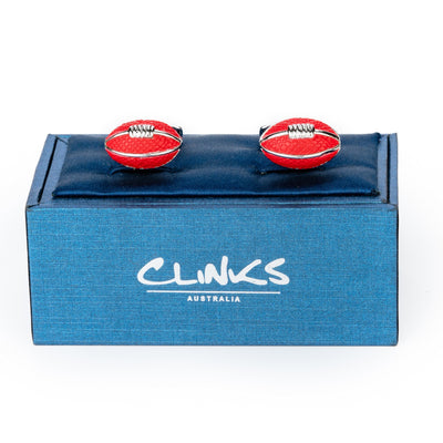 AFL Footy Red Leather Football Cufflinks