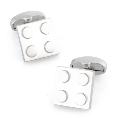 Silver Square Lego Like Building Block Cufflinks