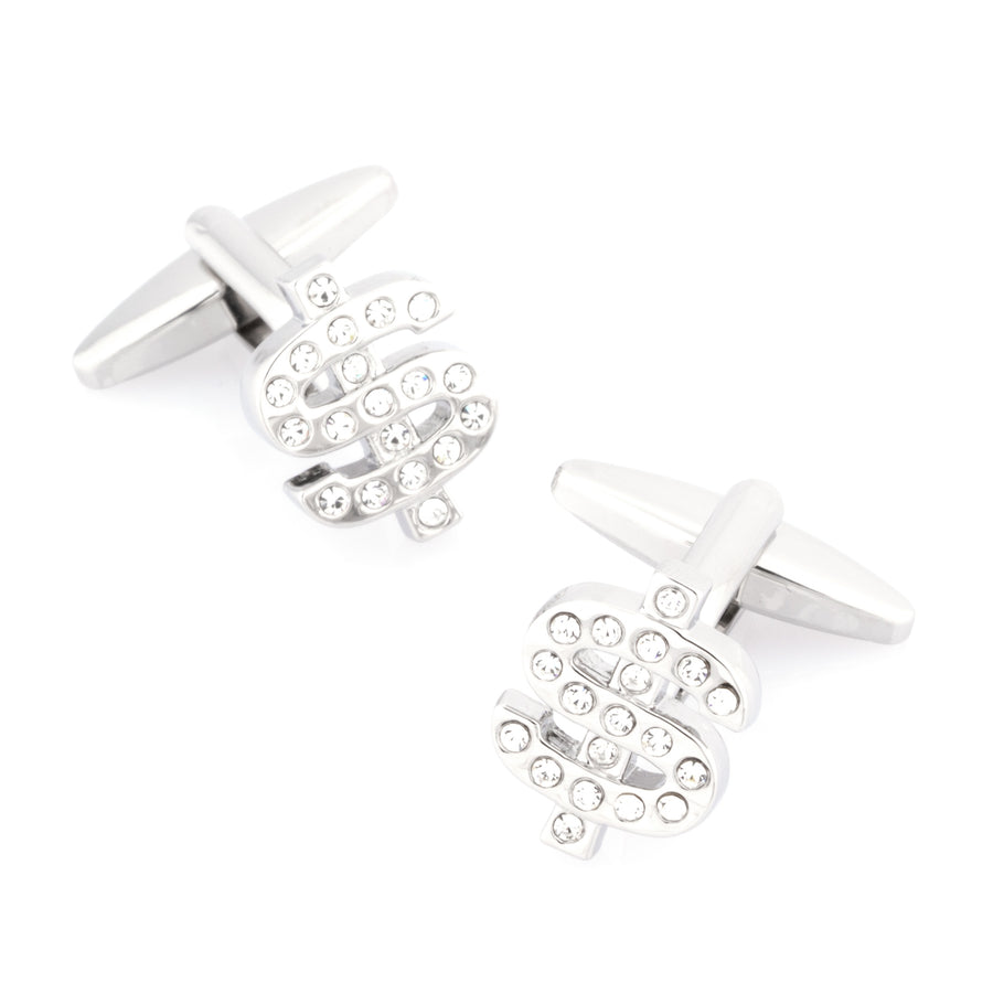 Silver Crystal $ Dollar Sign Cufflinks