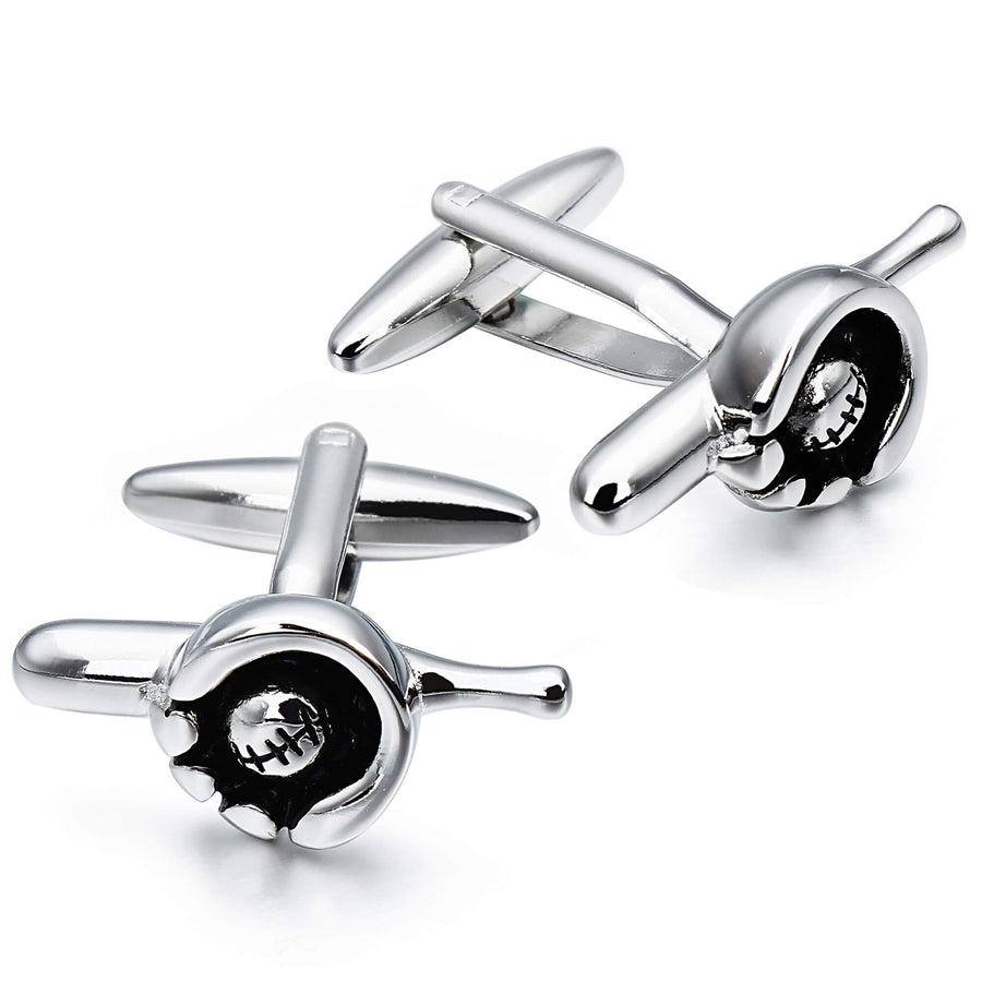 Baseball Bat, Glove and Ball Cufflinks in Silver