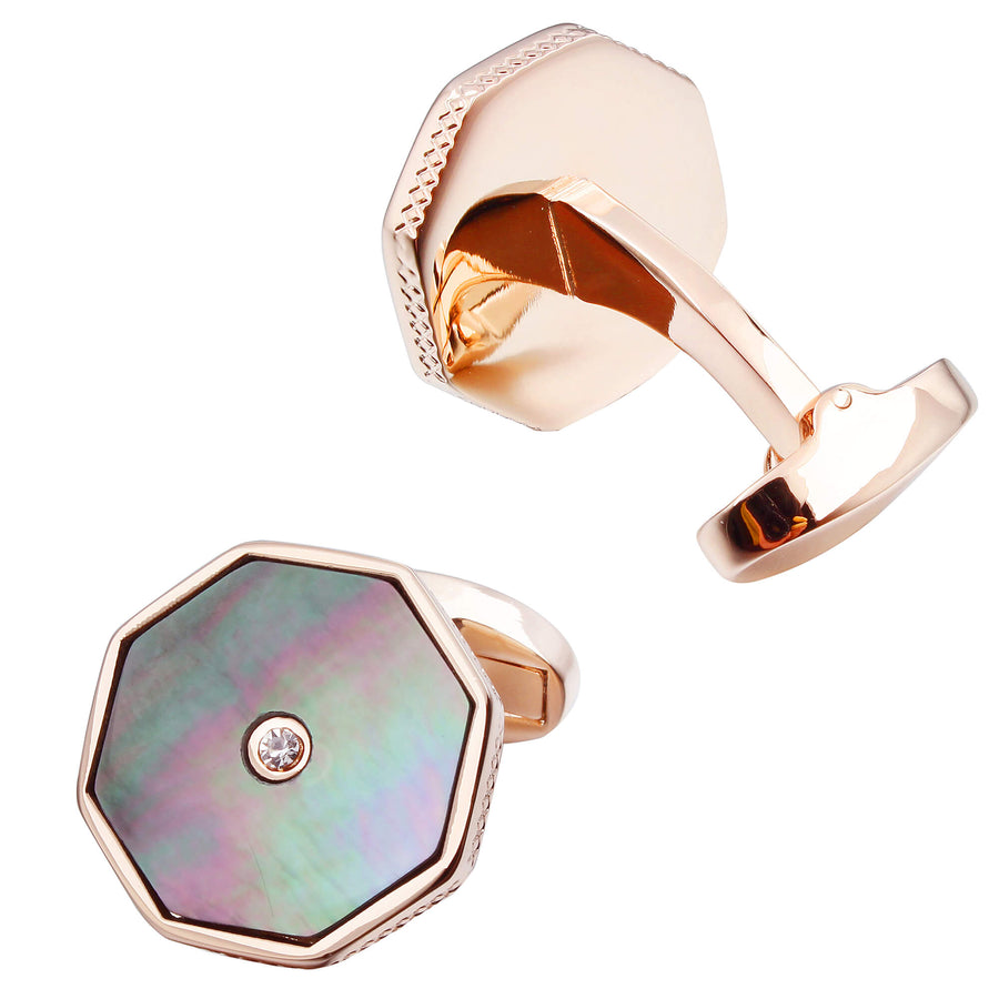 Black Mother of Pearl with Crystal in Rose Gold Cufflinks