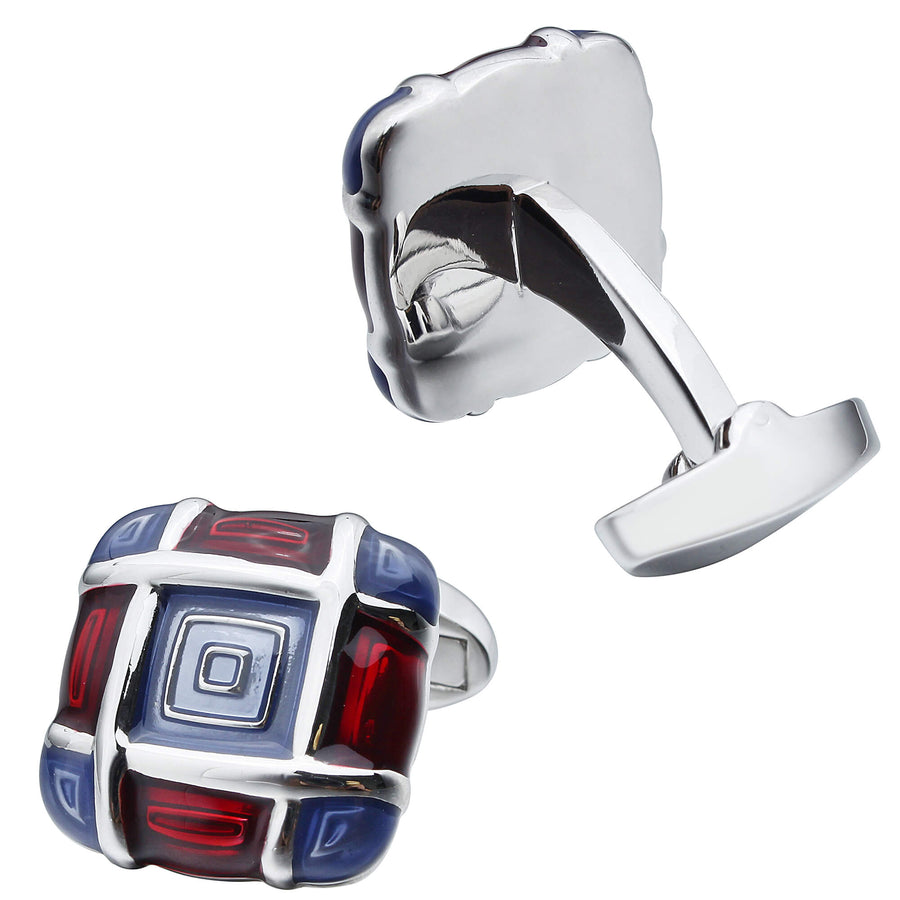 Blue and Red Enamel Squares Cufflinks