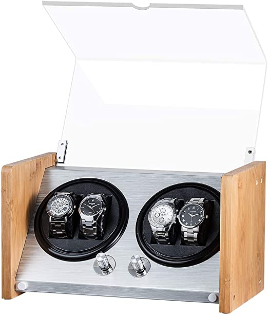 Watch Winder Box 4 Watch in Aluminium & Bamboo