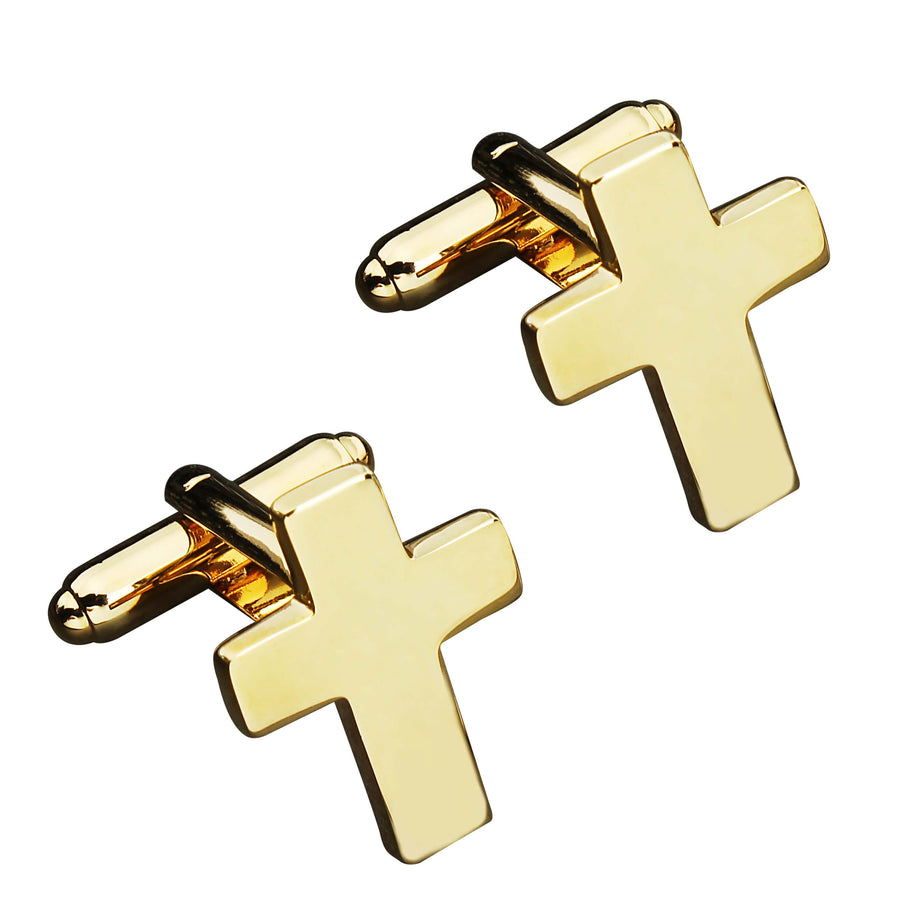 Brushed Gold Cross Cufflinks