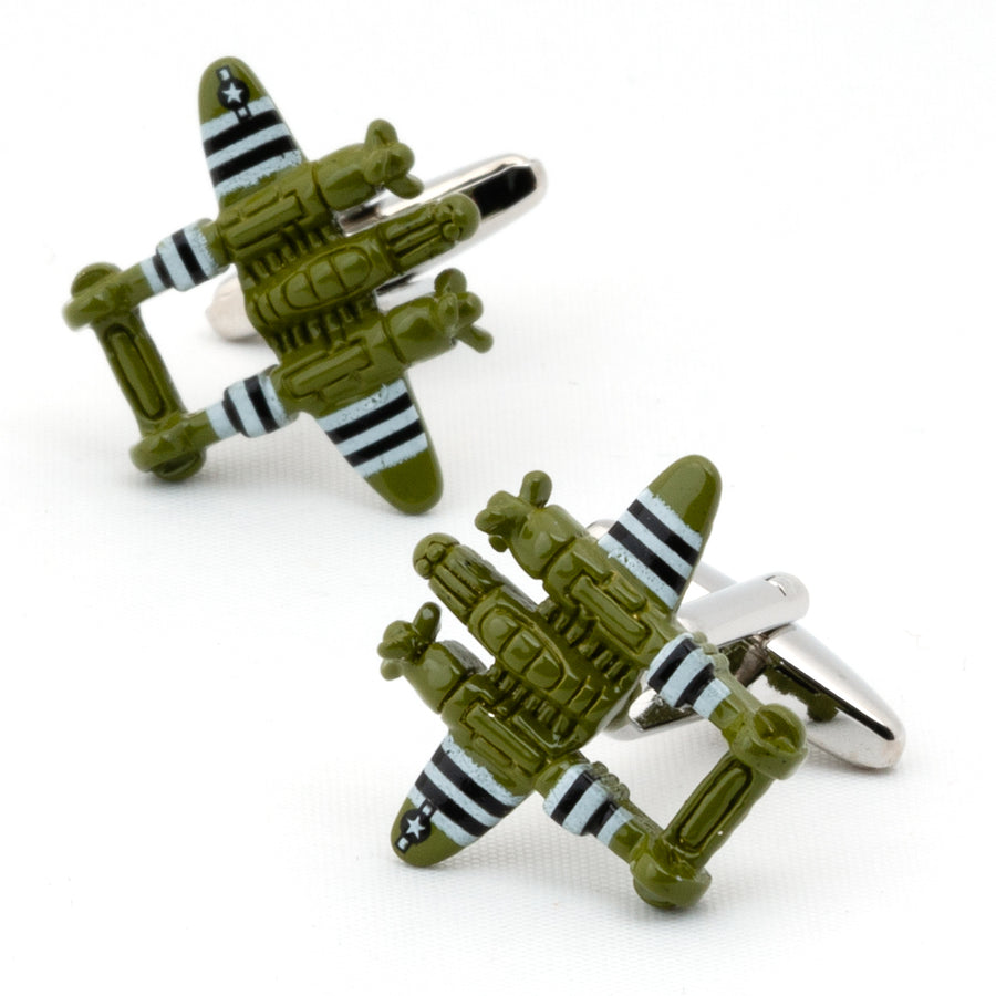 Green Fighter Jet Cufflinks