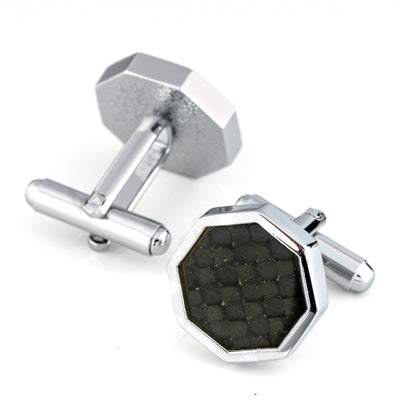 Hexagon Black Carbon Fibre Silver Cufflinks