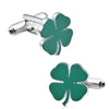 Green Lucky Four Leaf Clover Cufflinks